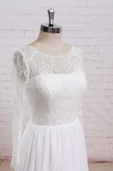 Newest Round Neck Long sleeves Lace Top Chiffon Simple Beach Wedding Dresses, WD0368