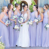 New Arrival Simple V-neck Tulle Cheap Bridesmaid Dresses, BD0532