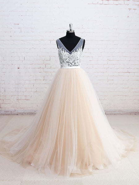 Popular Sexy Deep V-neck sleeveless Applique Tulle Wedding Dresses With Train, WD0348