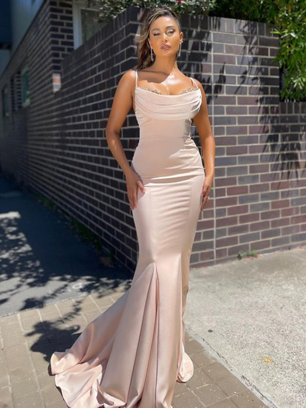 Sexy Spaghetti Straps Mermaid Cheap Long Prom Dresses,RBPD0120
