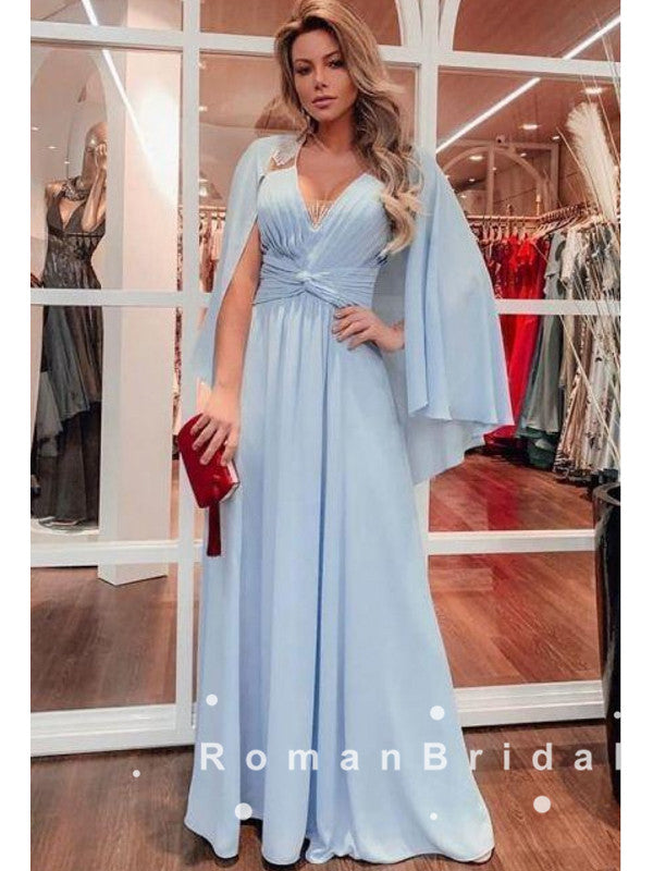 A-Line V-Neck Light Blue Chiffon Long Prom Dresses With Pleats,RBPD0038