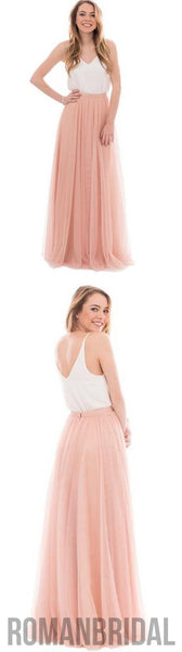 2018 Popular Cheap Junior Off Shoulder Scoop Neck White Blush Pink Tulle Long Bridesmaid Dresses, WG40