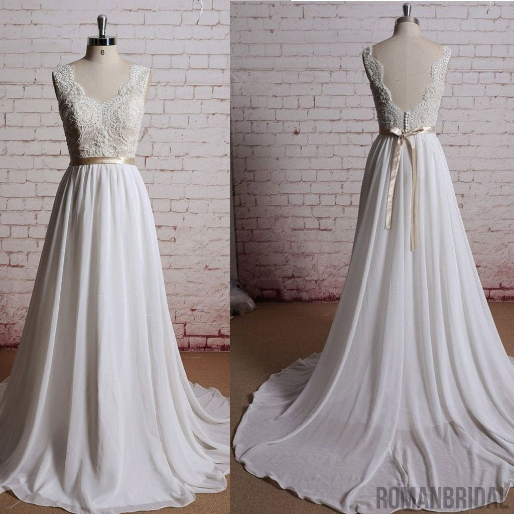 A-line V-Back Lace chiffon Champagne belt Beaded Sleeveless tail wedding dress, WD0320