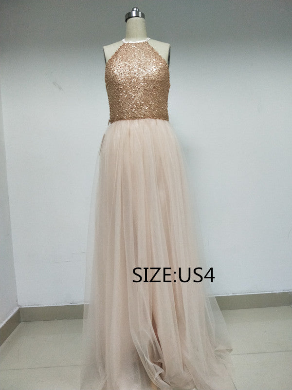 Discount Halter Sequins Tulle Long Bridesmaid Dresses, DD0102