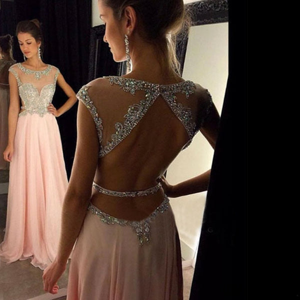 Popular A-line round neck sequin long pink prom dress, Pink Chiffon Sequin Prom Dress, PD0508