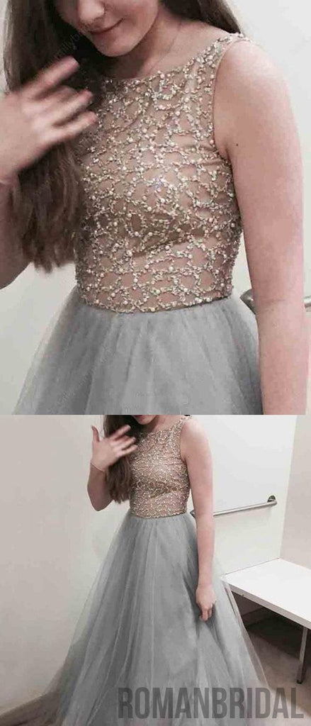 Floor-length A-line Grey Ball Gown Crew with Beaded, Elegant round neck sleeveless Long Prom Dress, PD0501