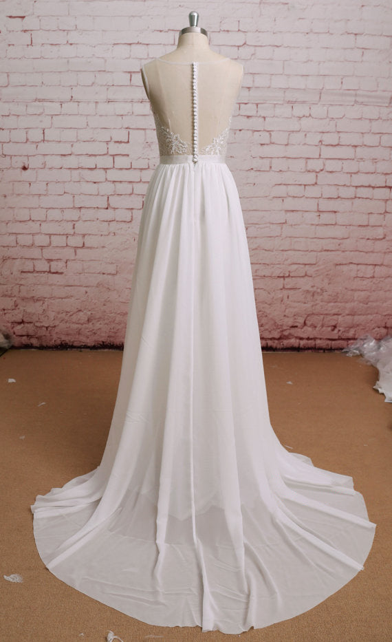 New Arrival Round Neck chiffon Lace Top Backless Wedding Dresses with train, WD0362