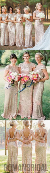 2018 Most popular mermaid short sleeve charming sequin long Bridesmaid Dresses, WG04