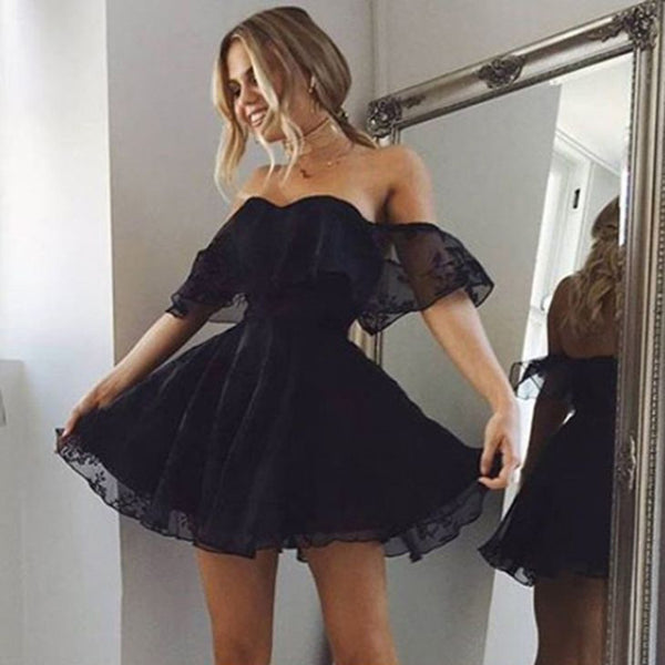 A-Line Off-the-Shoulder Black Lace Short Mini Sexy Homecoming Dress, HD0396