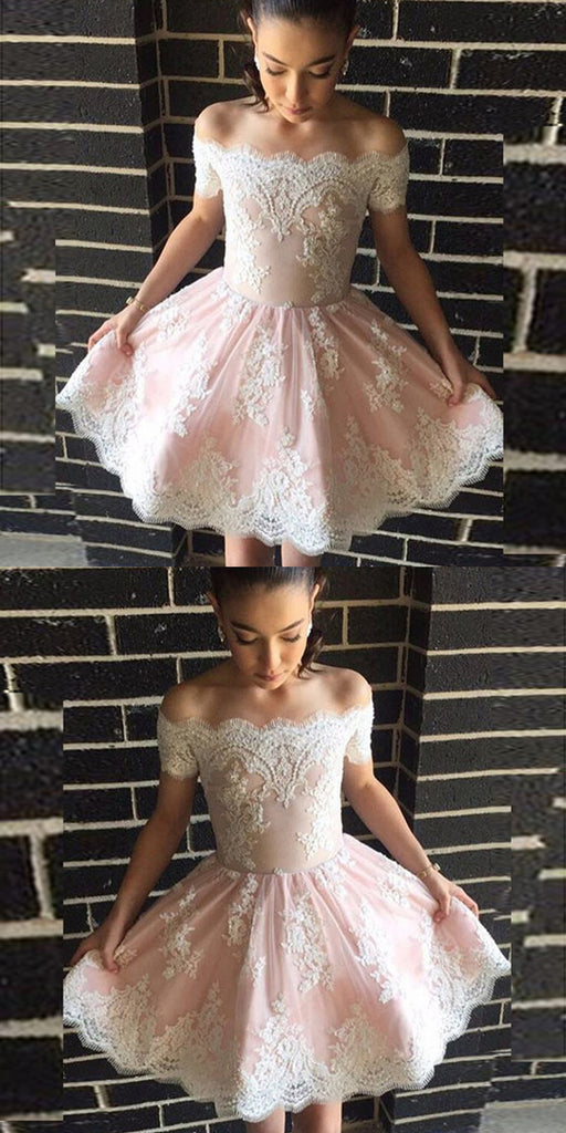 A-Line Off-the-Shoulder White Appliques Short Lovely Pink Homecoming Dress, HD0393