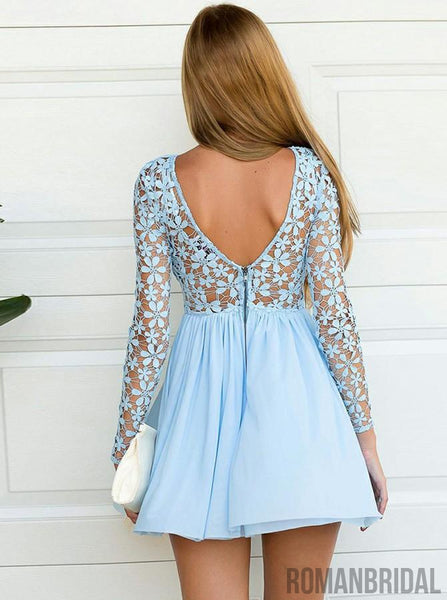 2018 New Arrival Lace Appliques Top Short Chiffon Long Sleeves Homecoming Dress, HD303