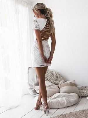 Charming Short Sleeves Lace-Up Back White Lace Short Homecoming Dress, HD0400