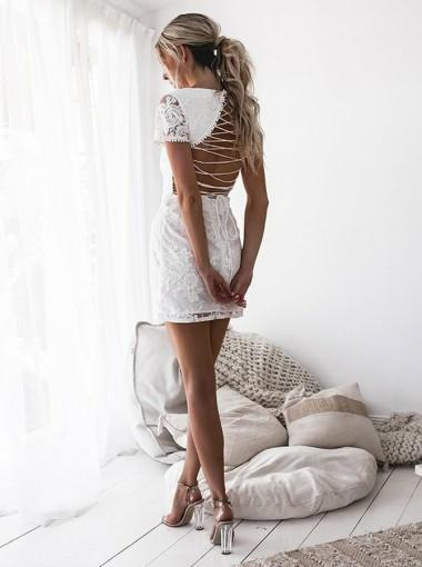 Charming Short Sleeves Lace-Up Back Light Ivory Lace Short Homecoming Dress, HD0400