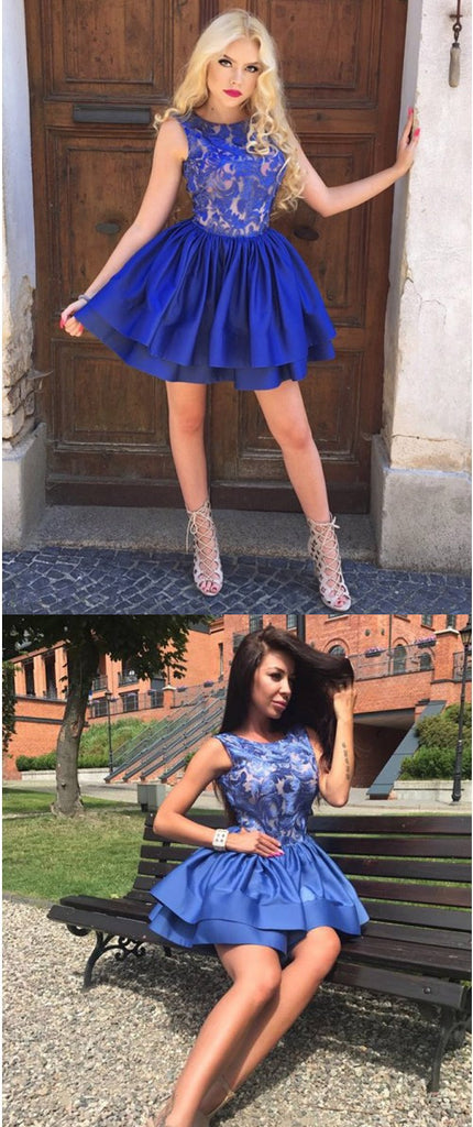 A-Line Round Neck Sleeveless Appliques Royal Blue Homecoming Dresses, HD0541