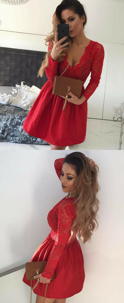 A-line V-neck Long Sleeves Lace Red Short Homecoming Dresses, HD0548