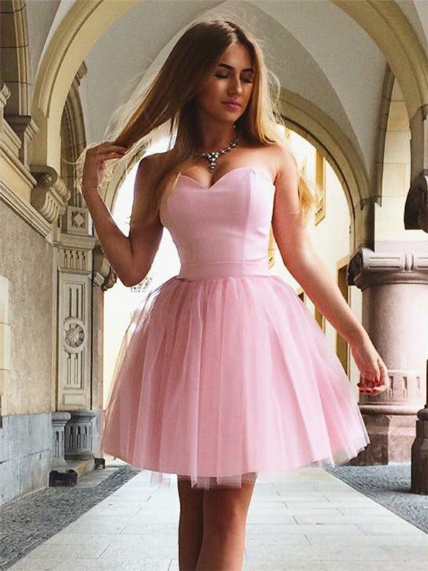 Sweetheart Strapless Lace-up Back Pink Tulle Homecoming Dresses, HD0549