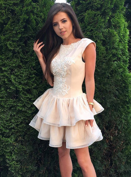 Amazing Cap Sleeves Lace Appliques Homecoming Dresses With Ruffles, HD0550