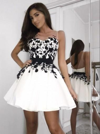 A-line Black Lace Appliques Sleeveless White Short Homecoming Dress, HD0403