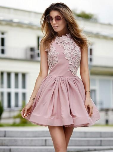 Newest A-Line Pink Appliques Sleeveless Party Dresses, Short Homecoming Dress, HD0412