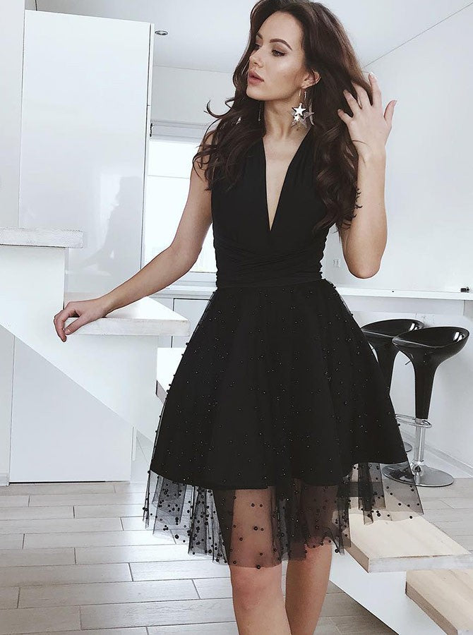 A-Line Sexy Deep V-Neck Black Beading Backless Tulle Homecoming Dresses, HD0375