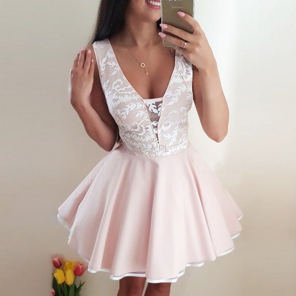 New Arrival Deep V-neck Lace Pink Party Dresses, Mini Homecoming Dresses, HD0364