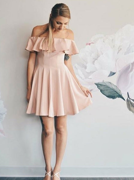 Off-shoulder Simple Chiffon Homecoming Dresses With Ruffles, HD0514