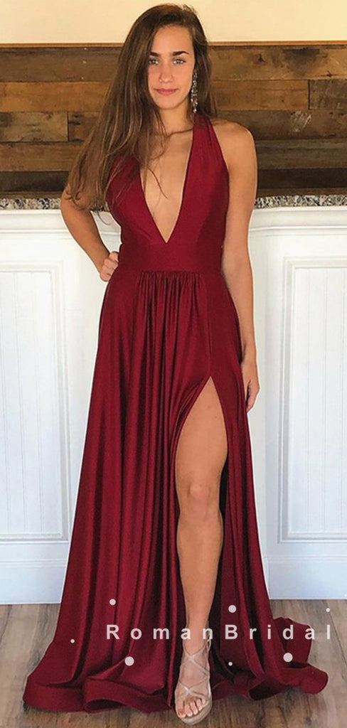 Simple A-Line Deep V-Neck Sleeveless Burgundy Split Side Cheap Long Prom Dresses,RBPD0041