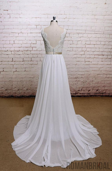 2018 Amazing Pretty New Floor-length chiffon Lace top Backless V-neck  wedding Dress, WD0300