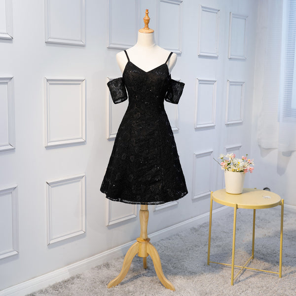 A-line Spaghetti Straps V-neck Short sleeves Black Lace Sequins Homecoming Dresses, HD0390