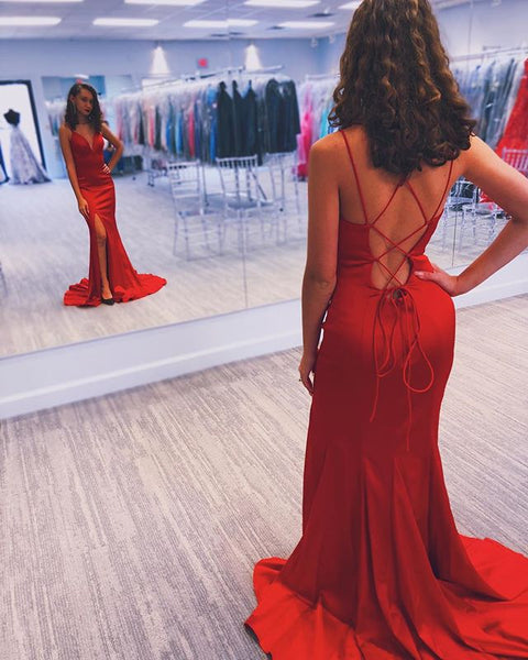 Newest Red V-neck Lace Up Back Long Sexy Prom Dress, PD0634