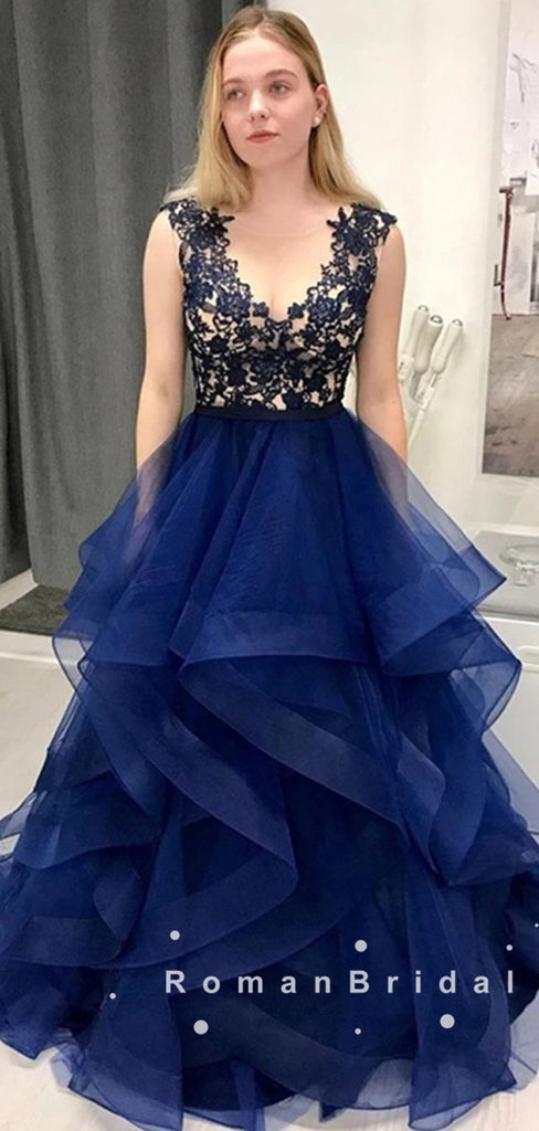 A-Line V-Neck Navy Blue Custom Floor Length Prom Dresses With Lace,RBPD0044