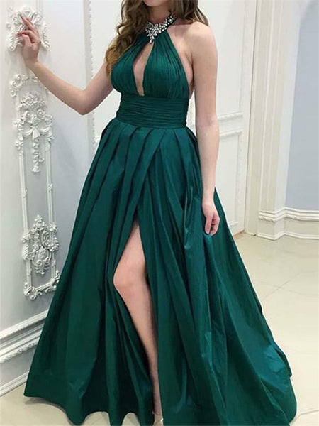 A-line Round Beading Neck Long Prom Dresses With Split, PD0752