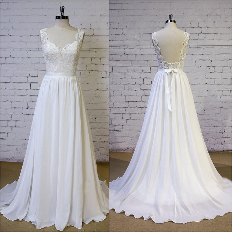 Romantic Elegant New Designed A Line Backless Floor Length chiffon Wedding Dresses with train, WD0349