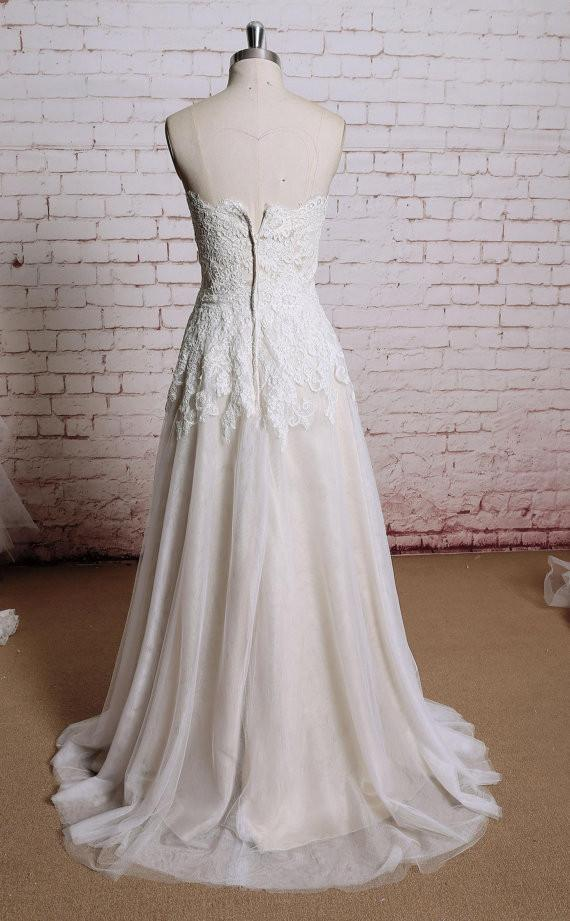Popular Mermaid Strapless  Lace Appliques Sweep Train Wedding Dresses, WD0341
