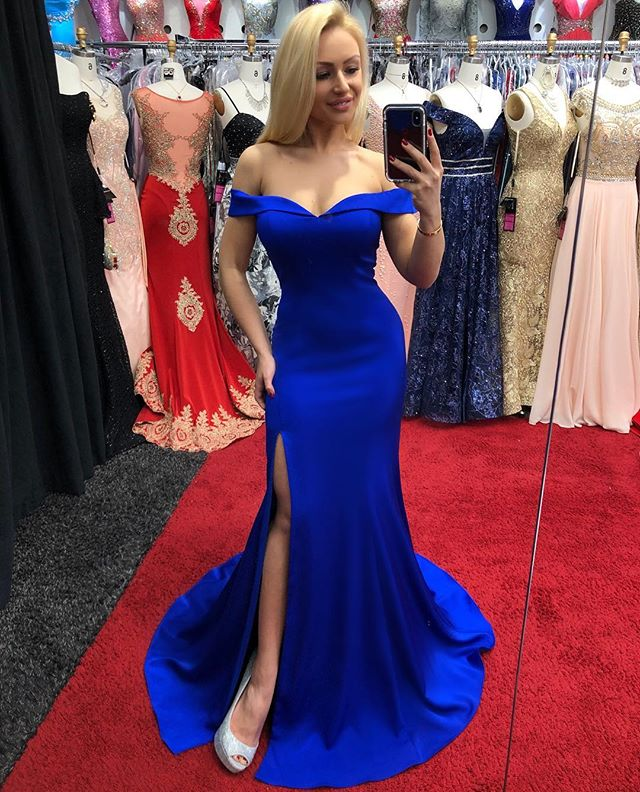 Off-shoulder Dark Blue High Split Simple Long Prom Dress, PD0643