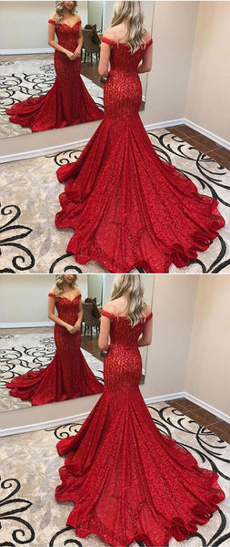 Amazing Off-shoulder Mermaid Red Lace Prom Dress With Train, PD0644