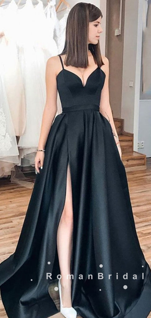 A-Line V-Neck Spaghetti Straps Black Long Prom Dresses With Slit,RBPD0047