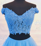 Two pieces Off-shoulder Blue Floor-length Lace Prom Dress, PD0632