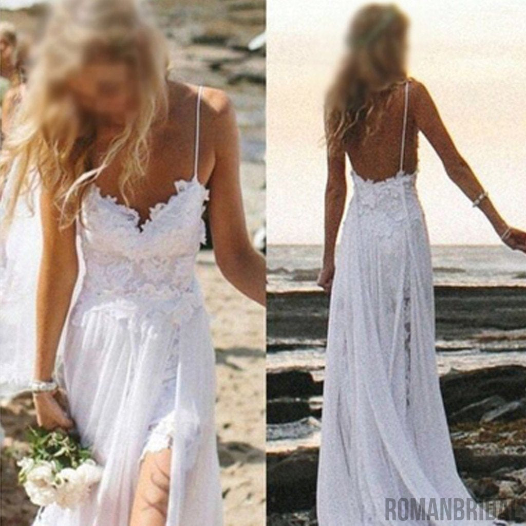 2018 Simple Spaghetti White Lace Side Slit Wedding Dresses For ...