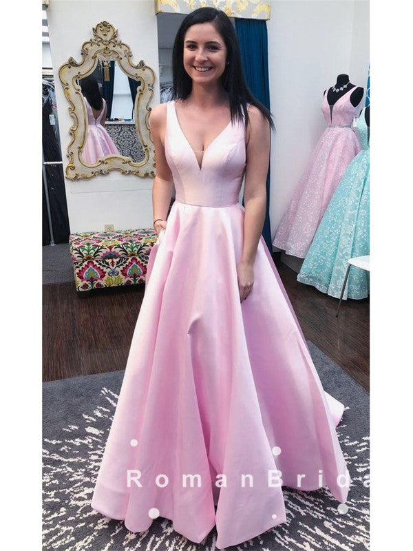 Alluring A-Line V-Neck Sleeveless Pink Cheap Long Prom Dresses,RBPD0048