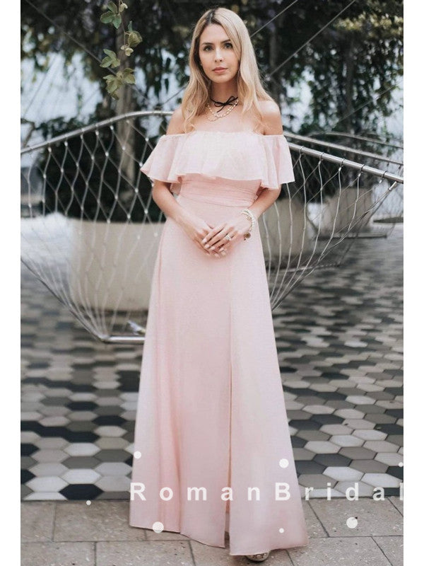 A-Line Off The Shoulder Light Pink Chiffon Long Prom Dresses With Ruffles,RBPD0049