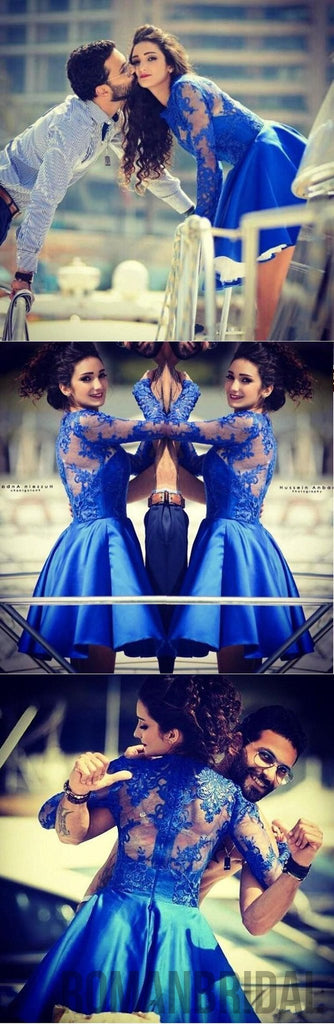 Blue lace long sleeves most popular junior  homecoming dresses for teen , BD00199