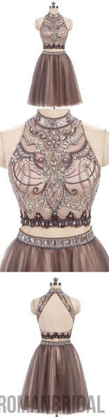 2018 Beading Charming High Neck Open Back Two Pieces Pretty Popular Homecoming Dresses For Teen , BD0205