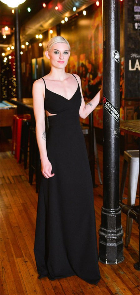 Spaghetti Straps A-line Floor-length Black Jersey Bridesmaid Dresses, BD0568