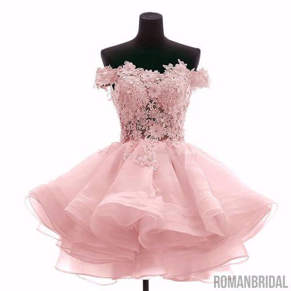 A-Line Scoop Sleeveless Lace Beading Short Chiffon Dresses, mini pink Homecoming Dress, HD0316
