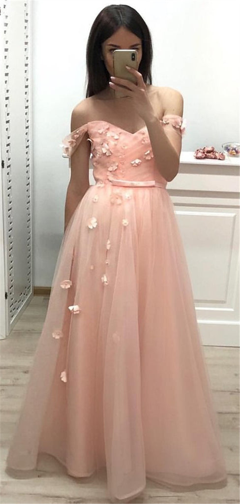 A-line Floor-length Off-shoulder Appliques Pink Prom Dress, PD0736