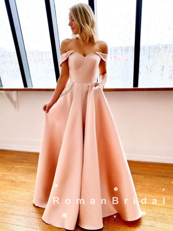 A-Line Off The Shoulder Simple Long Prom Dresses With Rhinestone,RBPD0051