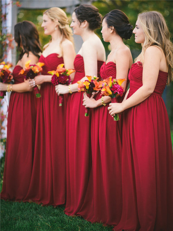 A-line Floor-length Sweetheart Red Bridesmaid Dresses With Pleats, BD0555