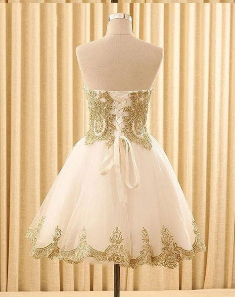 A-line Sweetheart Appliques Sleeveless Lace up Back Tutu Homecoming dresses, HD0379