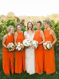 Modern Simple Orange Cheap Bridesmaid Dresses With Split, BD0557